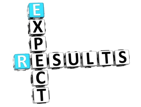 3D Expect Results Crossword on white background Stock Photo - 13700684