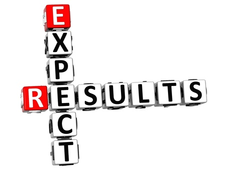 to expect: 3D Expect Results Crossword on white background