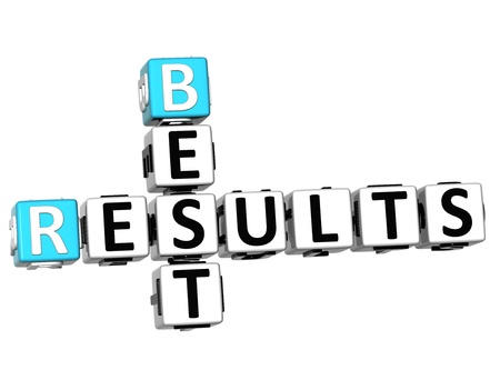 business results: 3D Best Results Crossword on white background