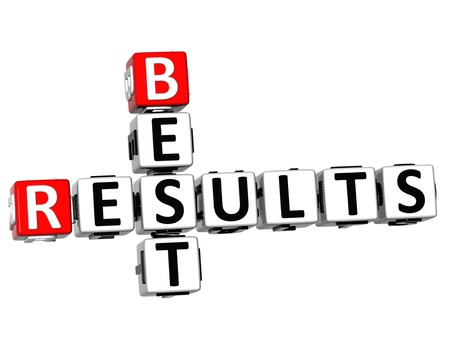 3D Best Results Crossword on white background