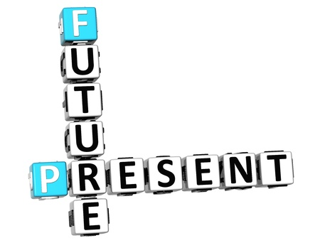 3D Future Present Crossword on white background photo