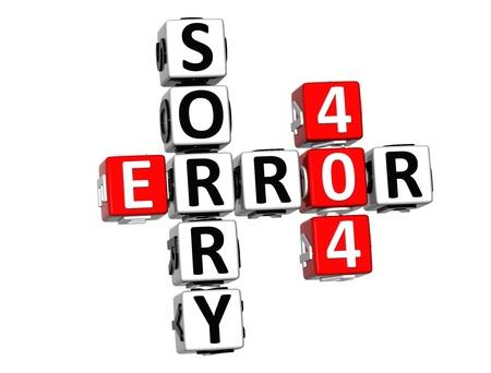3D Error 404 Sorry Crossword on white background photo