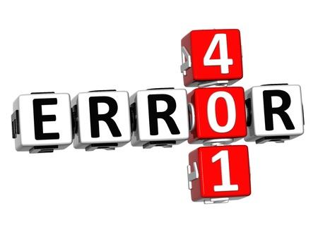 3D Error 401 Crossword on white background photo