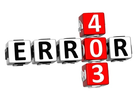3D Error 403 Crossword on white background photo
