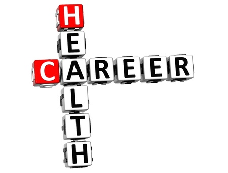 3D Health Career Crossword on white background photo