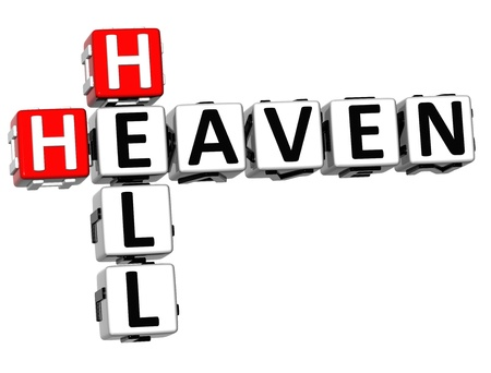 3D Heaven Hell Crossword on white background Stock Photo - 13700748