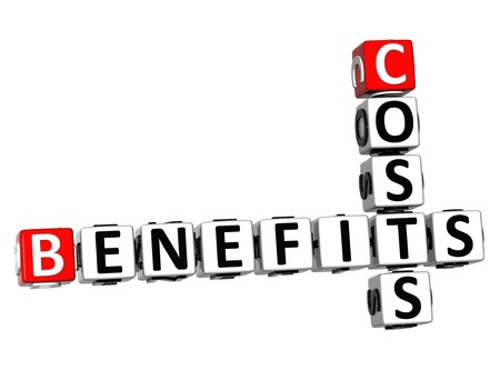 3D Benefits Costs Crossword on white background photo