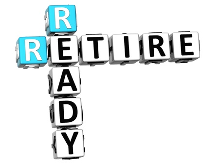retire: 3D Expect Results Crossword on white background