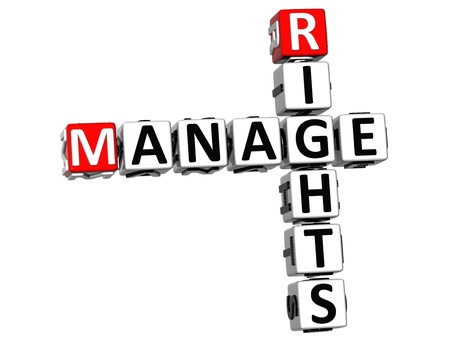 3D Manage Rights Crossword on white background photo