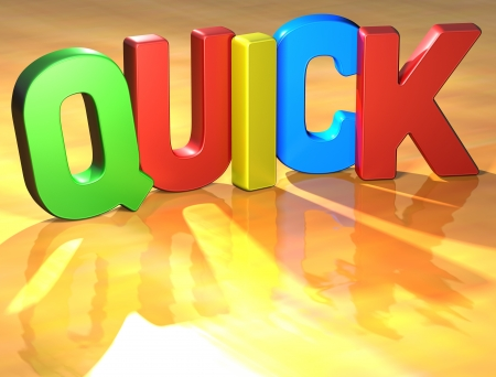 resolving: Word Quick on yellow background (high resolution 3D image) Stock Photo
