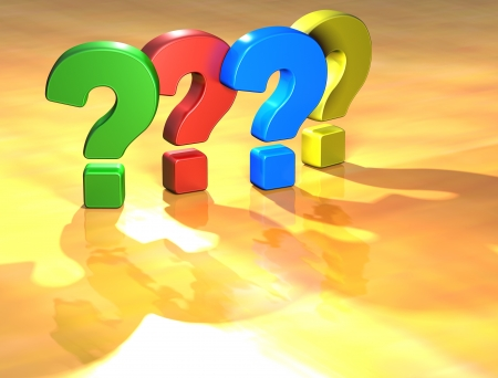 Word Question Mark on yellow background (high resolution 3D image) photo