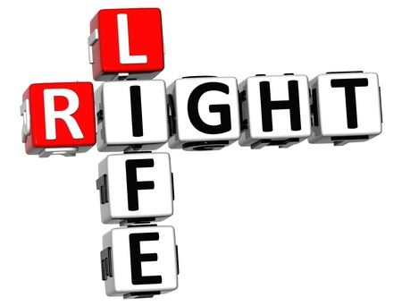 3D Right Life Crossword on white background photo