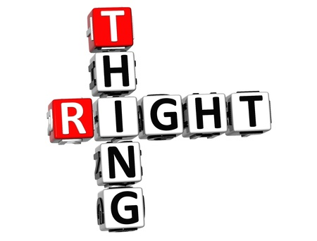 3D Right Thing Crossword on white background photo