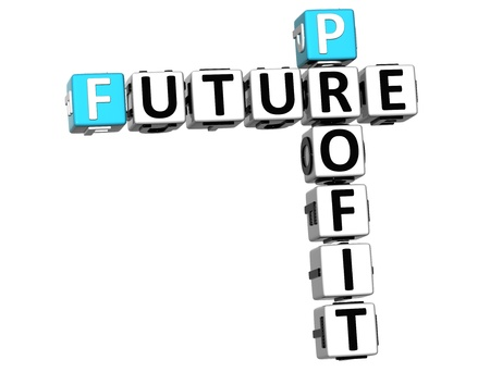 3D Future Profit Crossword on white background photo