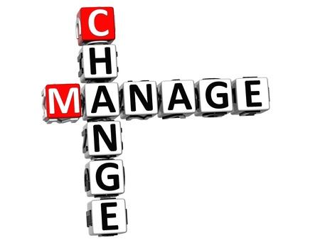 3D Change Manage Crossword on white background photo