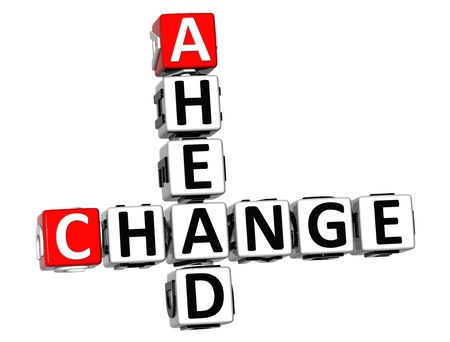 change of direction: 3D Change Ahead Crossword on white background