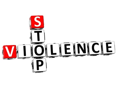 3D Stop Violence Crossword on white background photo