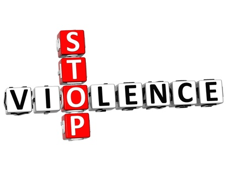 3D Stop Violence Crossword on white background Stock Photo - 13700687