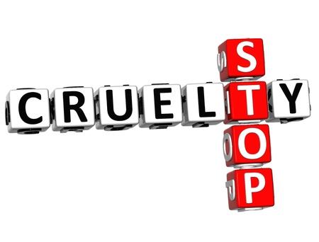 3D Stop Cruelty Crossword on white background photo
