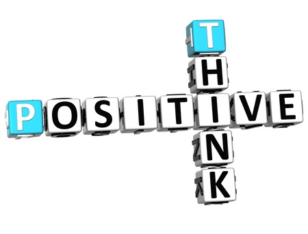 negativity: 3D Think Positive Crossword on white background