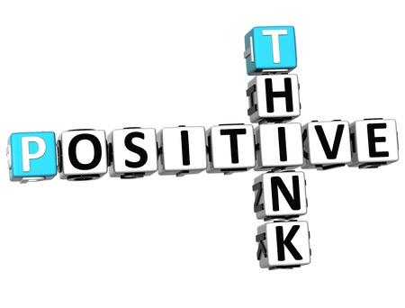 negative thinking: Pensez 3D crois�s positive sur fond blanc