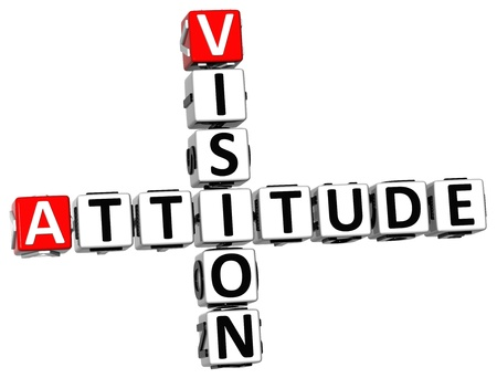 3D Vision Attitude Crossword on white background photo