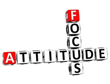 3D Focus Attitude Crossword on white background Stock Photo - 13700706