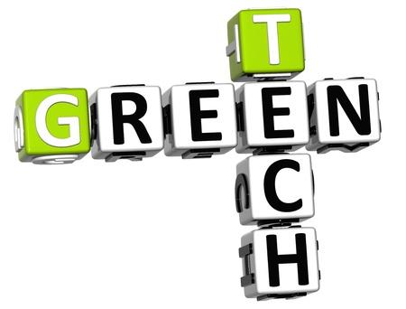 3D Green Tech Crossword on white background photo