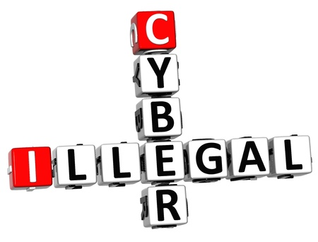 3D Illegal Cyber Crossword on white background photo