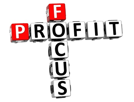 3D Focus Profit Crossword on white background photo