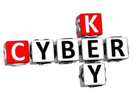3D Cyber Key Crossword on white background Stock Photo - 13700777