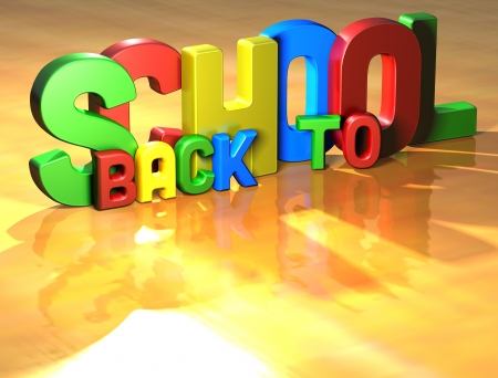 Word Back To School on yellow background (high resolution 3D image) Stock Photo - 13730662