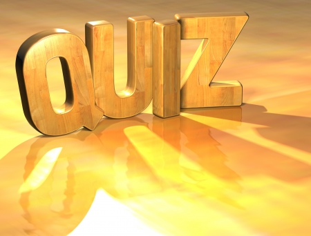 3D Quiz Wood Text over yellow background photo