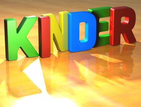 kinder: Word Kinder on yellow background (high resolution 3D image)