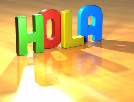 wariety: Word Hola on yellow background (high resolution 3D image) Stock Photo