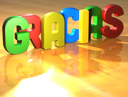 Word Gracias on yellow background (high resolution 3D image)