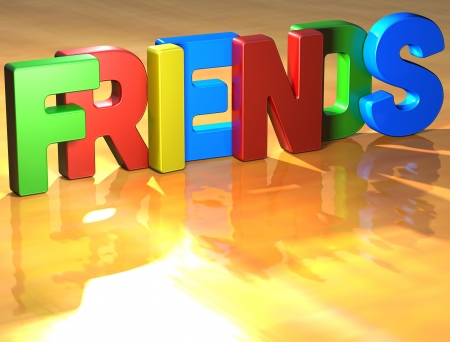 Word Friends on yellow background (high resolution 3D image)