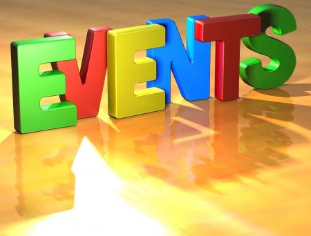 Word Evenementen op gele achtergrond (hoge resolutie 3D-beeld) Stockfoto