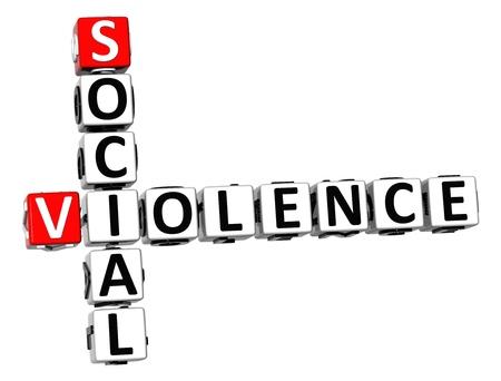 emotional pain: 3D Social Violence Crossword on white background
