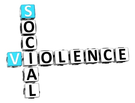 3D Social Violence Crossword on white background Stock Photo - 13730636