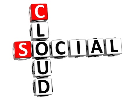 3D Social Cloud Crossword on white background Stock Photo - 13730640