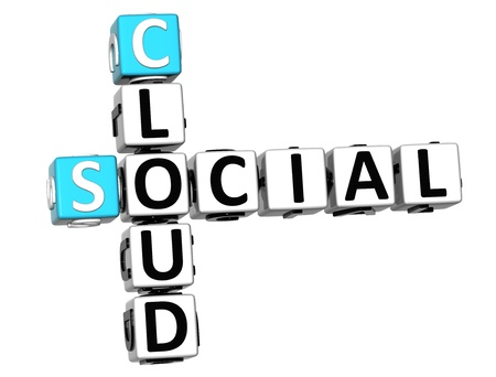 3D Social Cloud Crossword on white background photo