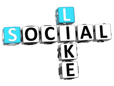 3D Social Like Crossword on white background photo