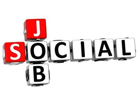3D Social Job Crossword on white background photo