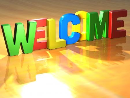 welcome door: Parola di benvenuto su sfondo giallo (immagine ad alta risoluzione 3D)