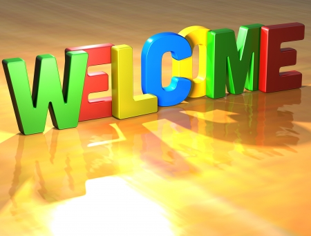 welcome sign: Word Welcome on yellow background (high resolution 3D image) Stock Photo