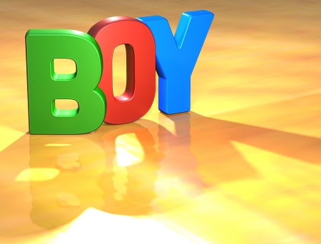 Word Boy on yellow background (high resolution 3D image) photo
