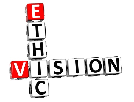 ethic: 3D Ethic Vision Crossword on white background