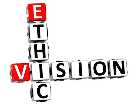 ethic: 3D Vision Crossword Ethic su sfondo bianco Archivio Fotografico