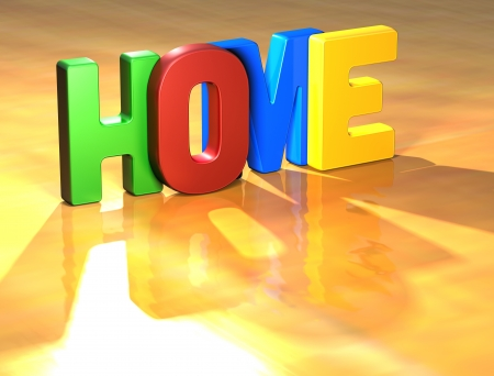 Word Home on yellow background (high resolution 3D image) photo